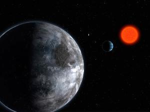 Beberapa planet mengitari bintang kerdil merah Gliese 581 (www.eso.org)